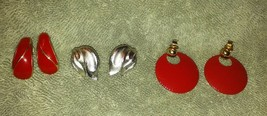 Vintage Crown Trifari stamped set of 3 clip on earrings gold/silver tone... - $17.99