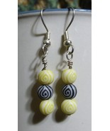 Yellow and Black Egyptian Eye Dangle Earrings - $15.00