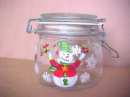 Hand Painted Snowman Storage Candy / Jam Jar Clamp Lid w/ Rubber Air Tig... - $14.81