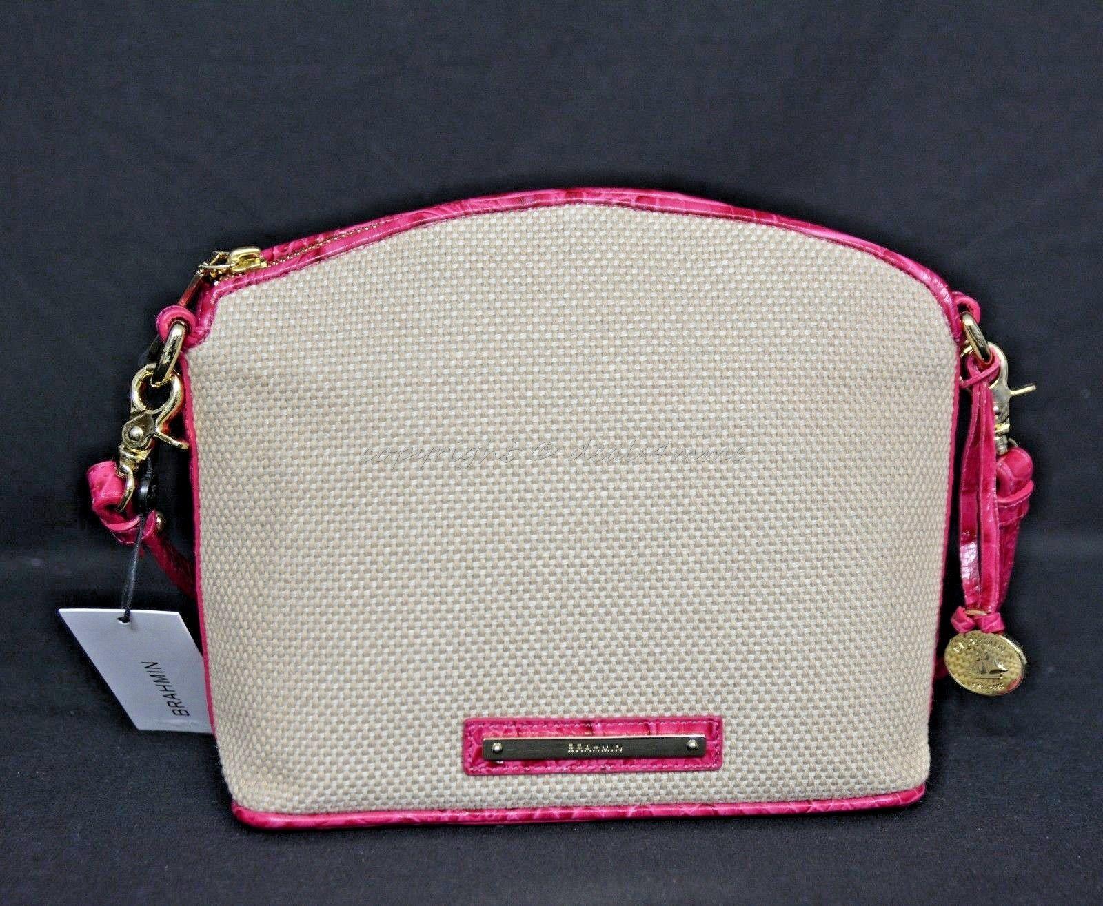 NWT Brahmin Mini Duxbury Shoulder Bag in Punch Harbor, Pink Leather/Beige Fabric image 7