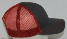OC Sports Adjustable Snapback Style Mesh Back Red Charcoal Baseball Cap image 3