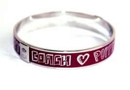 Auth COACH Silver Tone Metal Purple Enamel Heart Print Studded Bangle Bracelet - $97.02
