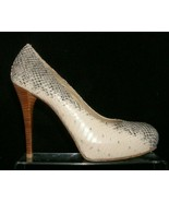 Stuart Weitzman leather snake print round toe slip on platform heels 7M ... - $32.37