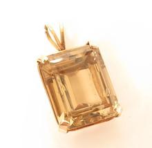 Vintage Large Smokey Quartz Gemstone 14K Solid Gold Necklace Pendant*12.... - $840.51