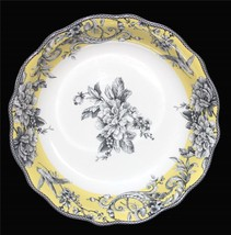 ADELAIDE Yellow Grey Floral Bird 222 Fifth Scalloped 12-1/2 Pasta Serving Bowl - $48.99