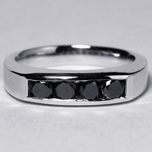 Custom Channel Set Natural Black Diamond Wedding Band Ring Women 14K Whi... - $899.00