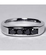 Custom Channel Set Natural Black Diamond Wedding Band Ring Women 14K Whi... - $899.00