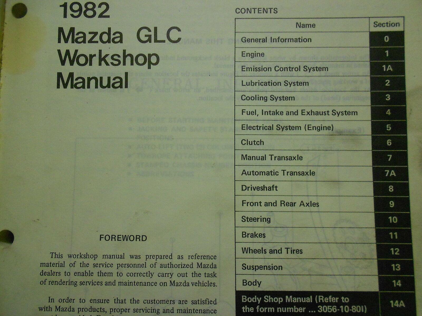 1982 Mazda Glc Service Reparatur Shop Manuell Fabrik Autohaus OEM Buch 82