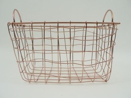Shiny Copper Wire Woven  Storage Basket w Handles Organizer Bright Metal... - $29.99