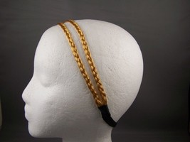 Blonde thin skinny faux hair braid double headband braided - $3.68