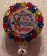 Autism Awareness Badge Id Reel Swarovski Crystals Red Blue Handmade New - $9.95