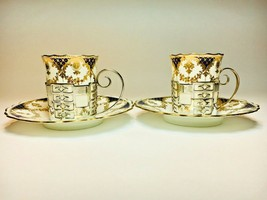 Rare Pair of Aynsley Coffee Cups & Saucers in Solid Silver W&H Cup Holde... - $168.64