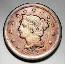 1852 Large Cent Braided Hair Fine Detail AD249 - $26.06