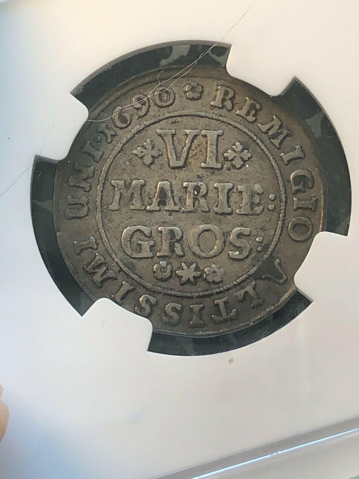 1690 Alemania Brunswick-Wolfenbuttel 6 Mariengroschen NGC Vf35 Lote #G191