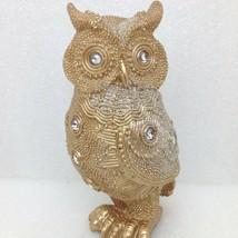Jeweled Owl Figurine Rhinestone Glitter Gold Color Resin B GSC 54589 - $9.65