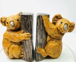 Vintage 70s Pair Koala Bear On Tree Ceramic Book Ends Gold