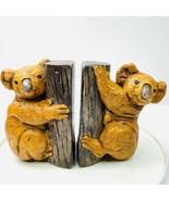 Vintage 70s Pair Koala Bear On Tree Ceramic Book Ends Gold - $29.69