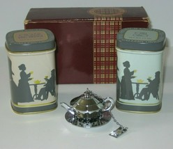 Vintage Tea Tin with Infuser English Breakfast and Earl Tea Tins NIB (open) - $409,04 MXN