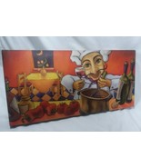 Will Rafuse Wall Decor Canvas 19x9.5 Inches Chef With Wine Glass In Hand... - $27.10