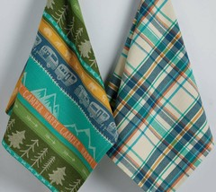 Happy Camper Dish Towel Set of 2 New Kitchen Tea Towels Cotton Trailer Trees  image 2