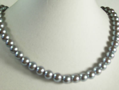 KYSKA Steel Grey Faux Pearls Choker Necklace Vintage Pearly Gray Office Career image 4