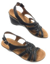 Natural Soul by Naturalizer Sandals Black Faux Leather Women's 8.5 US, 3... - $21.73