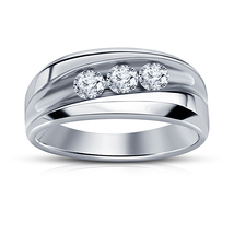 925 Sterling Silver Mens Wedding Anniversary Ring 14k White Gold Over Ring Band - £65.83 GBP