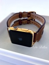 24K Gold Plated 42MM Apple Watch Series 2 with Leather Etoupe Double Buckle Cuff - $854.05
