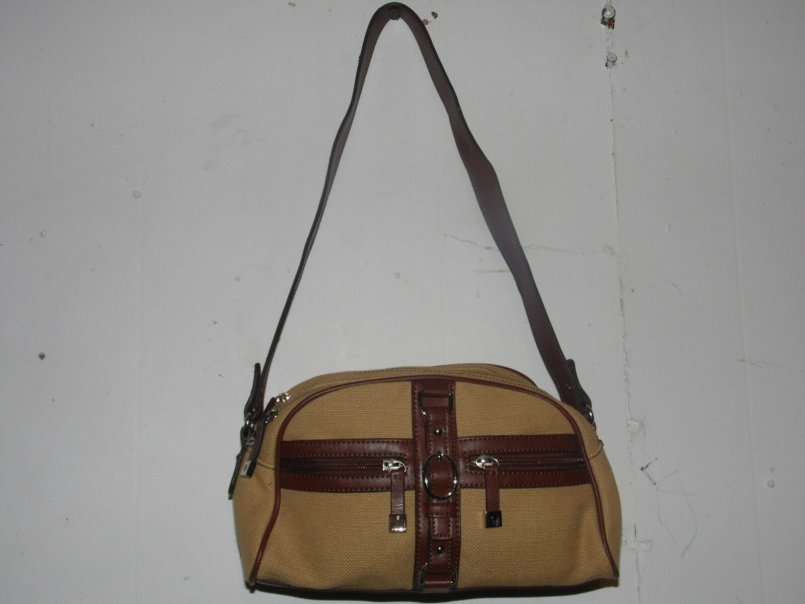 Etienne Aigner Over Shoulder Purse 3 Compartment Hand Bag Leather Cloth - $29.69