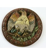 """Vintage Painted Cast Metal Circle, Bald Eagle Perched on Branch, 6""""  - $34.64"""