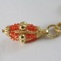 925 STERLING SILVER NECKLACE WITH CARNELIAN FINELY WORKED OVAL PENDANT, ITALY image 4