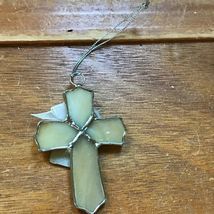 Estate Cream Glass & SIlvertone CROSS with Best Friends Charm Christmas Tree Orn image 5