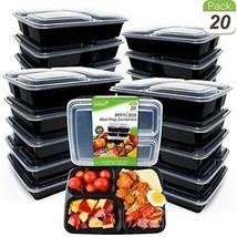 Reusable Meal Prep Containers 3 Compartment Lids Anti Spill Food Storage... - €22,53 EUR