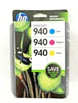 NEW HP 940 Color Printer Ink Cartridge 3 Pack (Cyan Magenta Yellow) - Expired  - $10.39