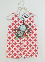 MudPie Monkey Shortall Red White Flower Geometrical Design Size 0 to 6 M... - $29.00