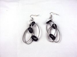 Silver and Black Oval Earrings #5319 Brand New, Free 1st Class Shipping - $9.95