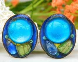 Vintage Andree Bazot Modernist Paris France Enamel Earrings - $79.95