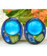 Vintage Andree Bazot Modernist Paris France Enamel Earrings - €67,56 EUR