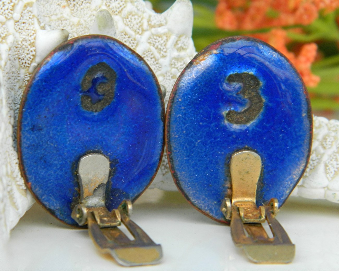 Vintage Andree Bazot Modernist Paris France Enamel Earrings