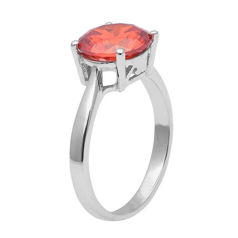 Amazing !! Orange Cz 925 Sterling Silver Ring Shine Jewelry Size-7.5 SHRI1419