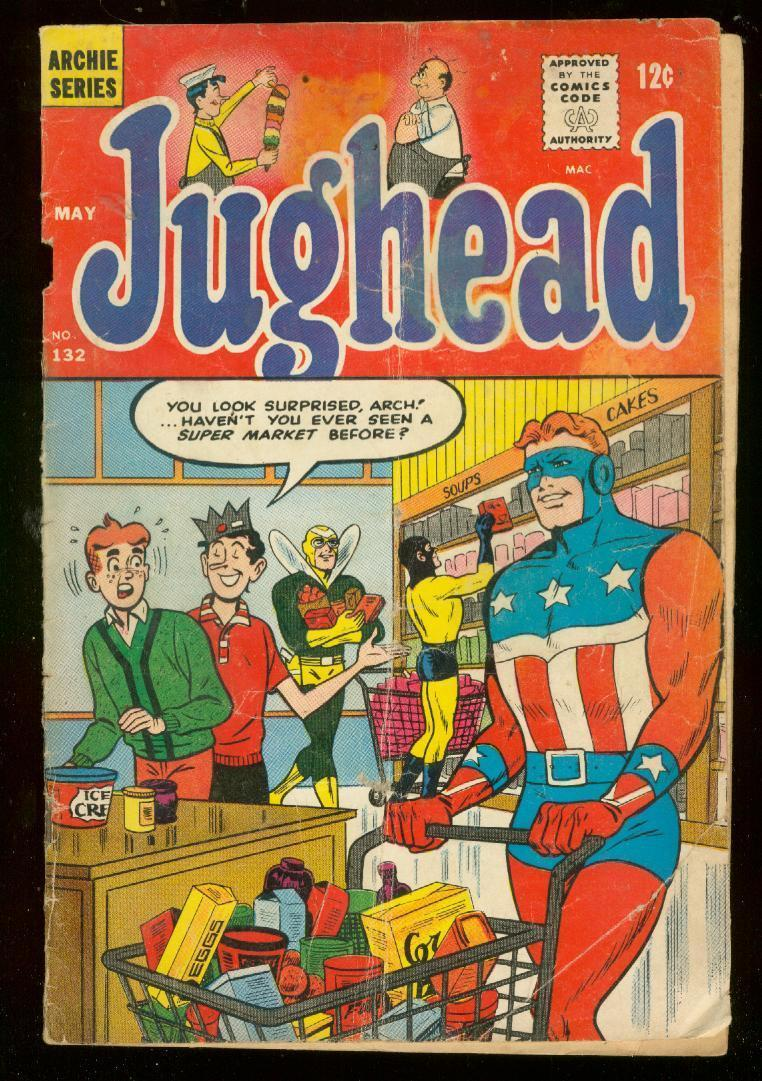 JUGHEAD #132 1966-THE SHIELD-BLACK HOOD-THE FLY-RARE FR