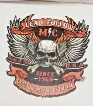 """24"""" concept biker skulls MC lead follow bike cutout USA STEEL plate display Sign - $97.02"""