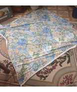 """Vintage Fabric Remnant 58"""" X 59"""" Light blue,navy,tan and green. - $8.00"""