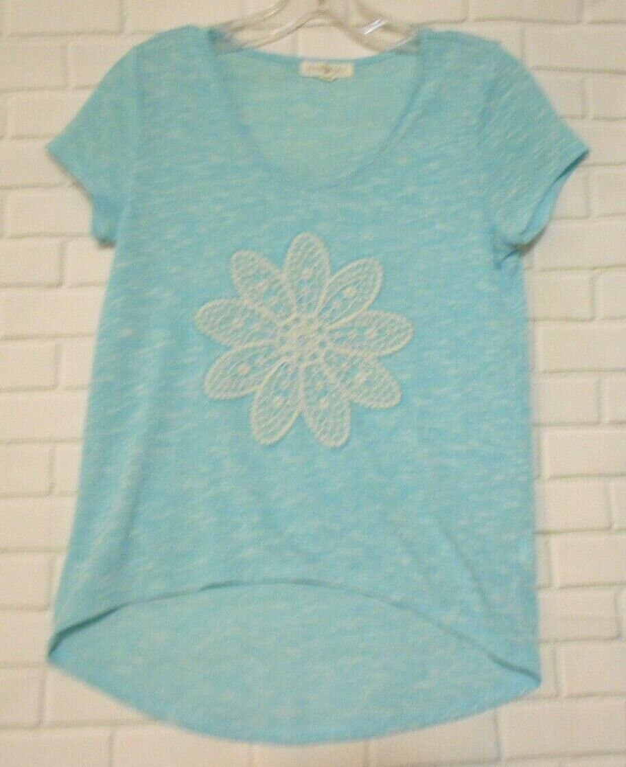 Primary image for Aeropostale XS TP Turquoise Marled Rayon Blend Hi Lo Hem  Cap Sleeve Top