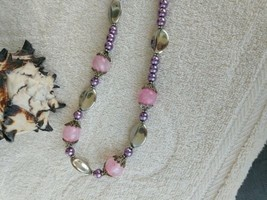"""Vintage Necklace Pink Stone and Purple Pearl Beads -Crown Filigree Bead Caps 16"""" - $64.35"""