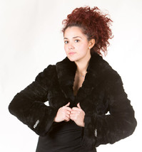 Luxury gift/ Black Rex Fur Bolero /Bell Bottom Sleeves Women's Brand New /Weddin image 1