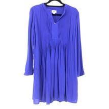 Old Navy Womens Size Medium Long Sleeve Swing Dress Pintucked Front Blue... - $23.36