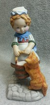 1984 Franklin Mint Debbie Bell Jarratt Amanda Porcelain Figurine Cat Milk Bucket - $11.75