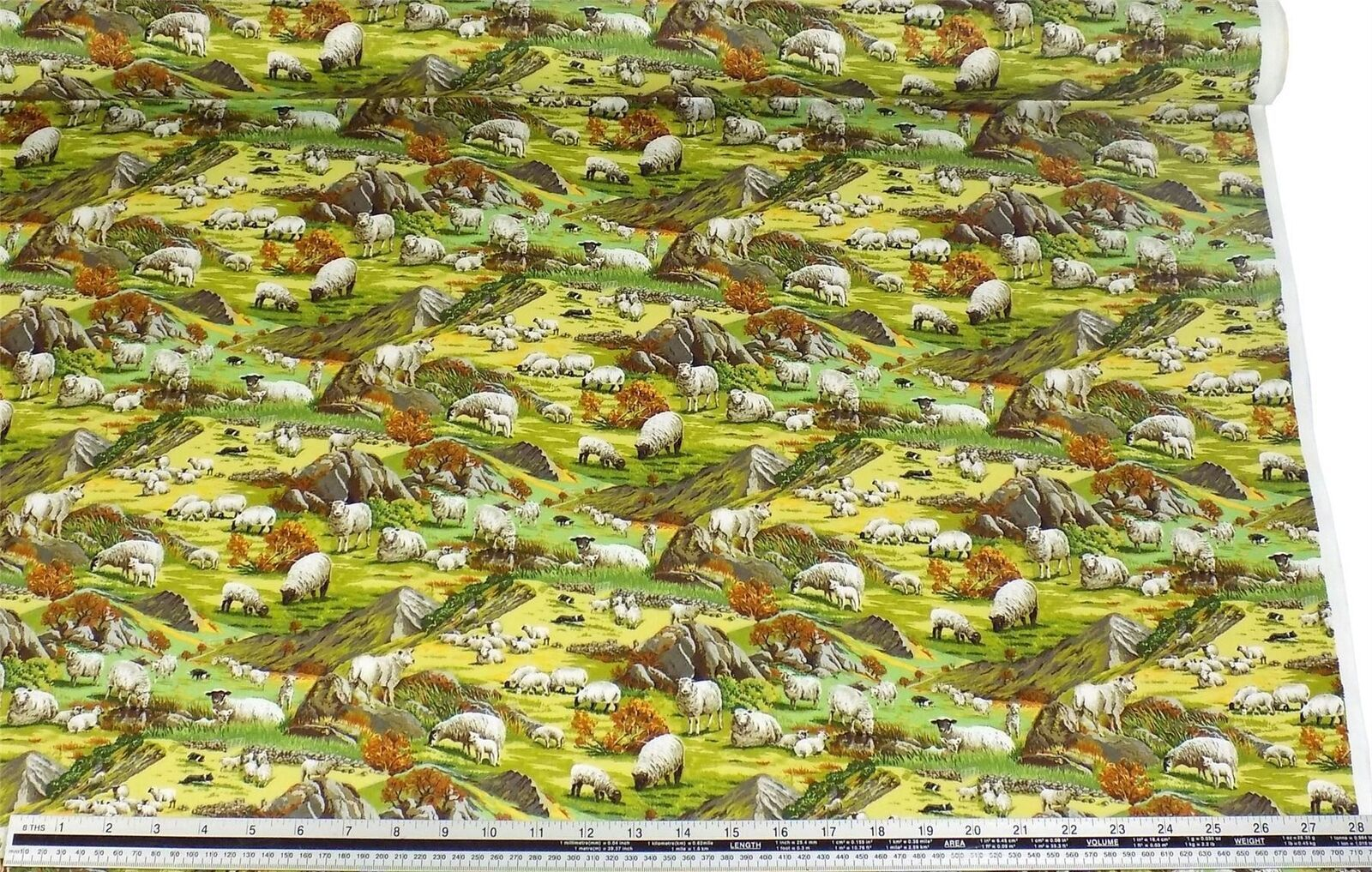 Countryside Sheep Grass Green 100% Cotton High Quality Fabric Material 3 Sizes