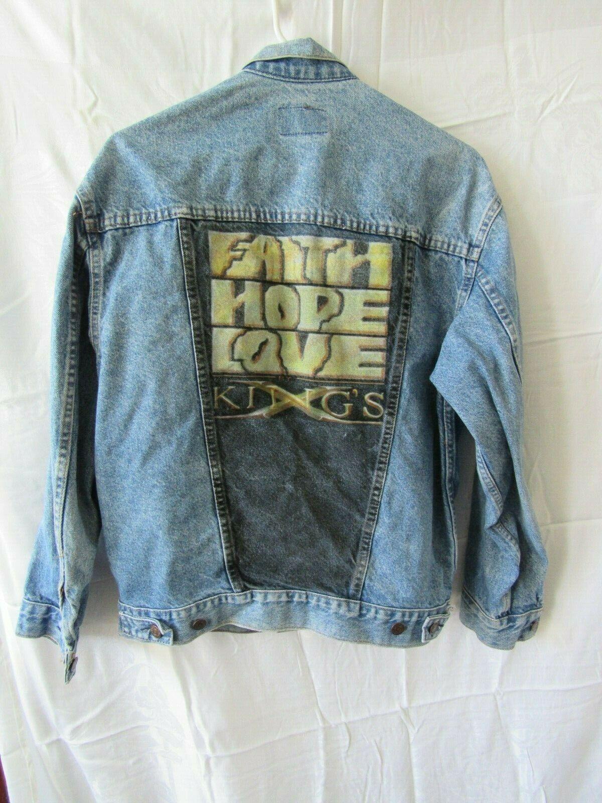Faith Hope Love X Kings Vintage Jean Jacket Levi Strauss XL Rare Find - $54.56